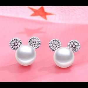 Mickey Mouse pearl cz stud earrings New